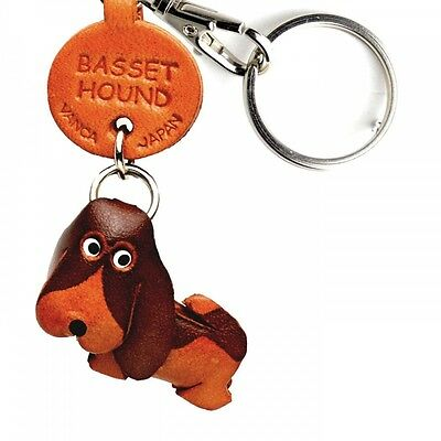 Basset Hound Handmade 3D Leather Dog Key chain ring *VANCA* Made in Japan #56703