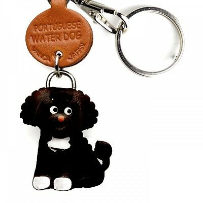 Portuguese Water Dog Handmade 3D Leather Dog Keychain VANCA Made in Japan #56775
