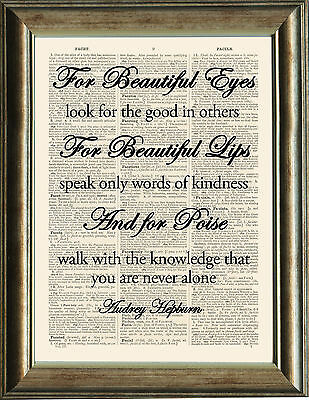 Old Antique Dictionary page Art Print - For Beautiful Eyes Quote Audrey Hepburn