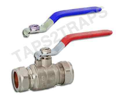 22Mm Lever Ball Valve Dual Red & Blue Handles Compression Full Bore Top Quality
