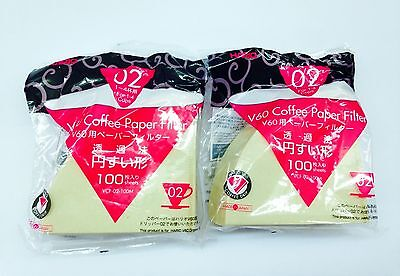New Hario Misarashi V60 Size 02 Filter Paper VCF02 100 Count x 2 Packs (200 pcs)
