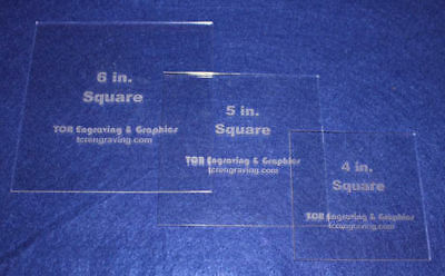 """3 Piece Square Set  4"""", 5"""", 6""""  1/8"""" Clear Acrylic - Quilting Templates- No seam"""