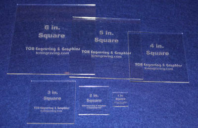 """6 Piece Square Set 1"""" to  6""""  1/8"""" Clear Acrylic - Quilting Templates- No seam"""