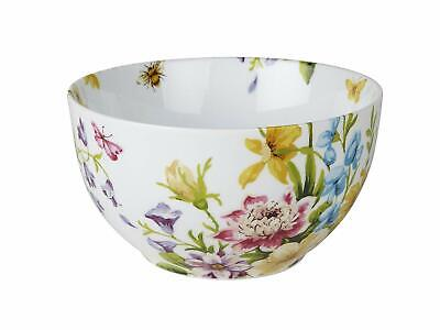 KATIE ALICE English Garden SHABBY CHIC White Floral PORCELAIN CEREAL BOWL