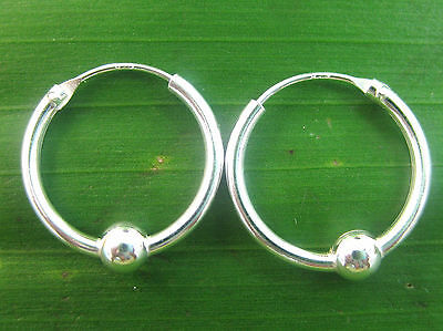 925 sterling silver Ball on 16mm sleepers hoops - ball not removable - teen girl