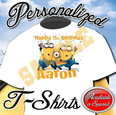 New Custom Personalized Despicable Me Minions Birthday T Shirt Party Add Name
