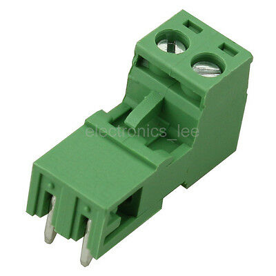 10pcs 2EDG 2Pin Plug-in Screw Terminal Block Connector 5.08mm Pitch Right Angle