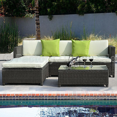 Outdoor Patio 5PC Furniture Section Wicker Rattan Sofa Set Couch Gradient Brown