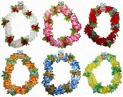 Hawaiian Deluxe Lei Neck Garland Fancy Dress 6 Bright Colours New h