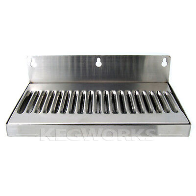 """10"""" Wall Mount Drip Tray - Stainless Steel - No Drain - Bar Draft Bar Beer Spill"""