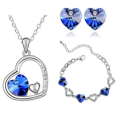 Royal Blue Crystal Hearts Jewellery Set Stud Earrings Necklace & Bracelet S453