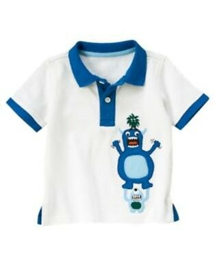 GYMBOREE SPACE VOYAGER WHITE w/ ALIEN MONSTER S/S POLO TOP 3 6 12 18 24 2 4T NWT