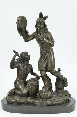 Native American Indian Shaman Rain Dance All Bronze Sculpture Statue Marble Base