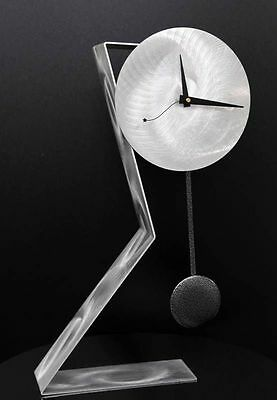 Statements2000 Modern Metal Desk Clock Pendulum Silver Time Keeper by Jon Allen