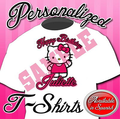 New Custom Personalized Hello Kitty Birthday T Shirt Party Add Name