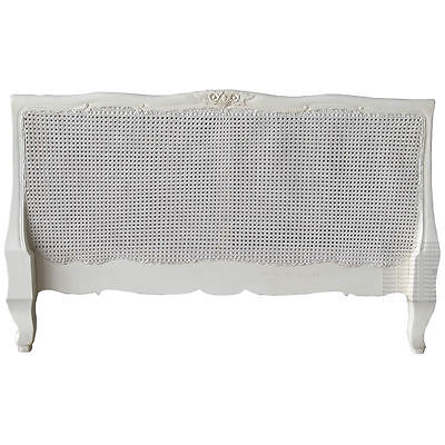 French Louis Rattan Headboard - King size - Antique White - New - In Stock