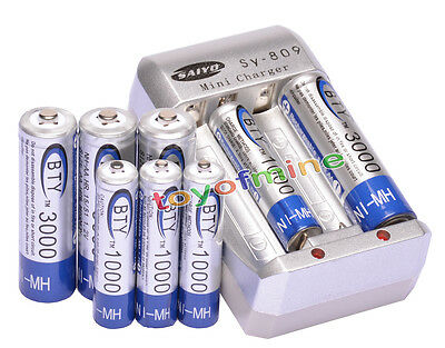 4AA +4AAA 1000mAh 3000mAh 1.2V NI-MH rechargeable battery /RC MP3 BTY+Charger