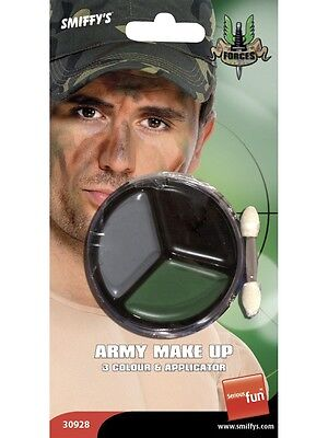 Army Fancy Dress Make Up Face Paint Camo Camouflage & Applicator New by Smiffys