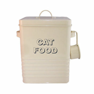 Vintage Style Large Cream Cat Food Tin, Retro Catfood Pet Storage Container
