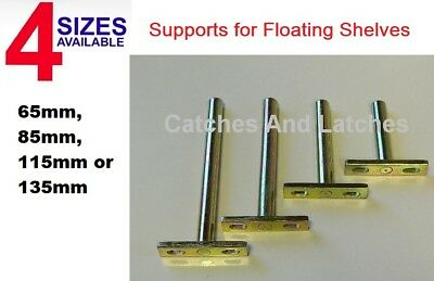 Concealed Shelf Brackets Floating Hidden Supports Screw Mounting Plate 4 Sizes