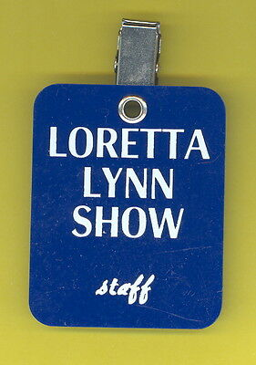 Loretta Lynn 1979 crew only backstage pass from tour