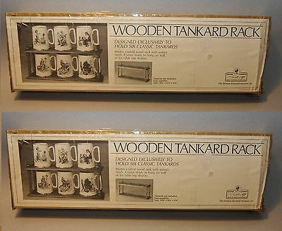 2 NOS Norman Rockwell Wooden Tankard RACKS Shelves / Hold 6 Mug Each Unused