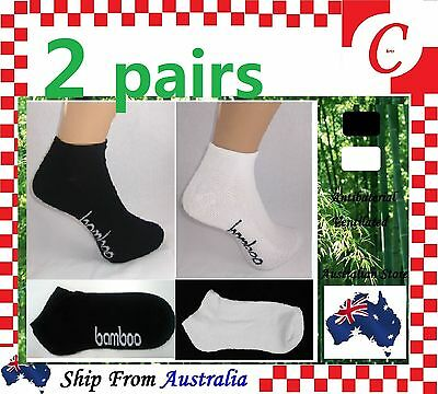 2Pairs Mens Men Bamboo Low Cut Sport Ankle Cushion SOCKS Odor Resistant Healthy