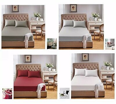 1000TC Egyptian 100% Cotton 3pc Bed Fitted Sheet+Pillowcase Set (no top sheet)