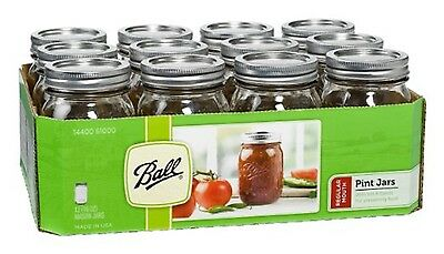 12 x Pint (440ml) Regular Mouth Jars Lids BPA Free Candle Jars - free metro ship