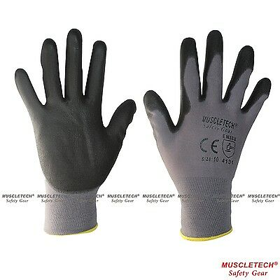 MUSCLETECH PU General Purpose Safety Work Gloves Mechanic Gloves 12 Pairs