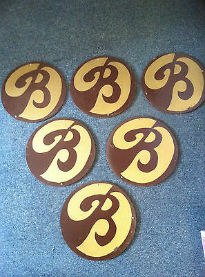 Vintage Boscov's Department Store Wood Hand Painted Sign Stylized Letter B