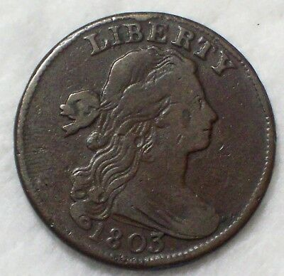1803 Draped Bust LARGE Cent VF Detailing RARE S-254 Variety Authentic US Coin 1C