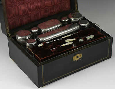 19th Century Ebonized Dressing Box Travel Case Sterling Silver Mounted Cut Glass
