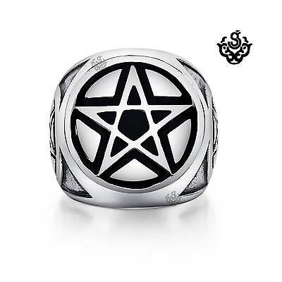 Silver bikies ring pentagram Five-pointed star solid heavy stainless steel band