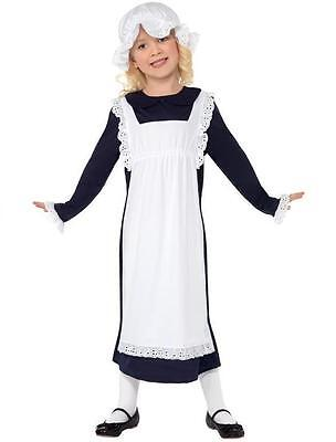 Childs Girls Fancy Dress Victorian Maid Girl Costume Kids Childs Outfit New
