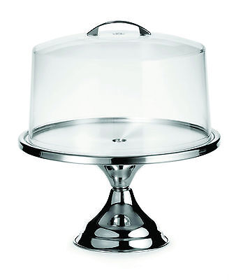 Stainless Steel Cake Stand & Cover 30cms/12 inch cakes/pastries/gateaux