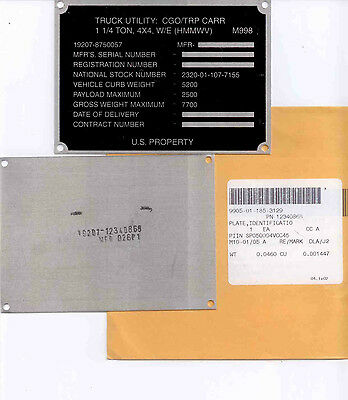 US Army HMMWV M998 Data Plate Typenschild Identification Plate Hummer orig.