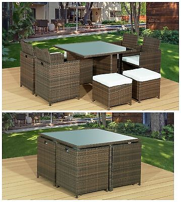 9Pc CUBE RATTAN GARDEN FURNITURE SET CHAIRS SOFA TABLE OUTDOOR PATIO 8 SEATER.