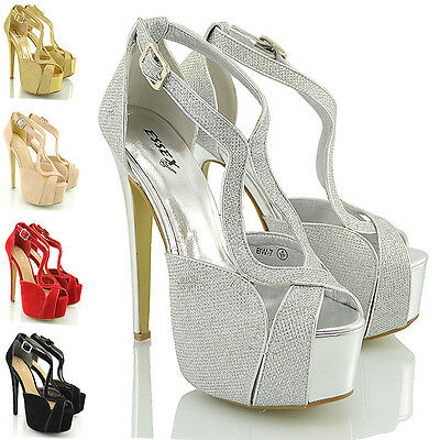 Womens Stiletto High Heel Strappy Ladies Peep Toe Party Platform Sandals Shoes