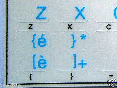 High Quality ITALIAN TRANSPARENT Keyboard Stickers BLUE Letters Fast  Postage