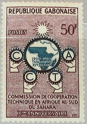 GABON GABUN 1960 153 150 C.C.T.A technical Co-operation Organisation Map MNH