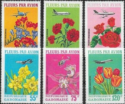 GABON GABUN 1971 425-30 C109-11 Flowers by Air Blumen Flora Airplanes Planes MNH