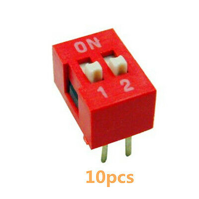10PCS 2.54mm Pitch 2-Bit 2 Positions Ways Slide Type DIP Switch Red