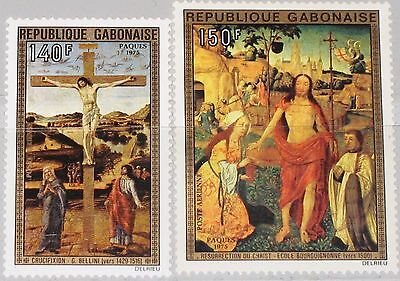 GABON GABUN 1975 554-55 C160-61 Easter Ostern Religion Paintings Gemälde Art MNH