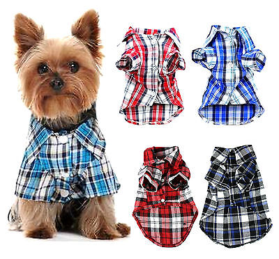 Small dog puppy cat pet plaid T shirt clothes jacket outfit coat summer/winter