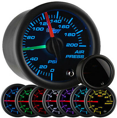 GlowShift Tinted 7 Color Dual Needle Air Suspension Gauge Suspension Air Ride