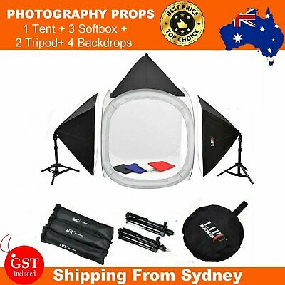 80cm Photo Photography Studio Cube Tent 3 Soft Box Lights + 4 Backdrop Stand kit