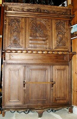 Antique Furniture Entryway Cloth Coat Hat Crack Wooden Beech Hand Carved