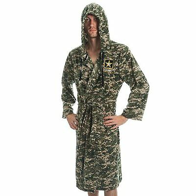 Army Strong Camouflage Fleece Adult Lounge Hooded Bath Robe