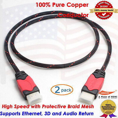 Premium Series HDMI Cable 3FT w/Nylon Protective Braid,Ethernet,3D,Audio, 2Packs